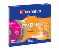 DVD-R VERBATIM Colour 4,7GB 16X Slim box 5ks/bal. (43557)