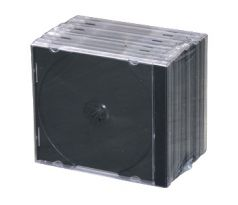 Single CD case – clear cover and base with black tray assembled 10pcs (CD1-B(10))